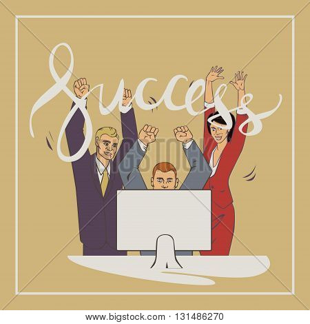 Vector illustration with group of office people who who raise hands and happy with vintage lettering word success