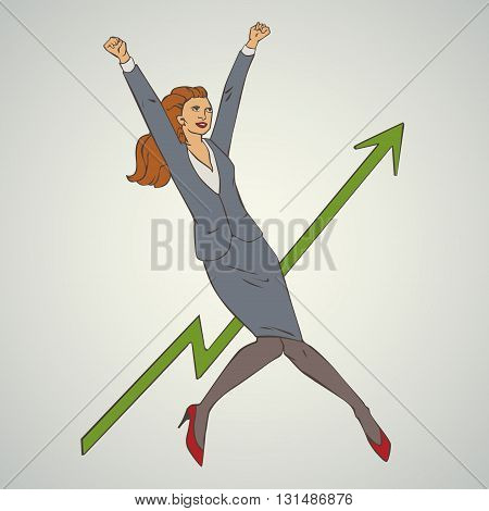 Vector illustration with woman jumping up and happy