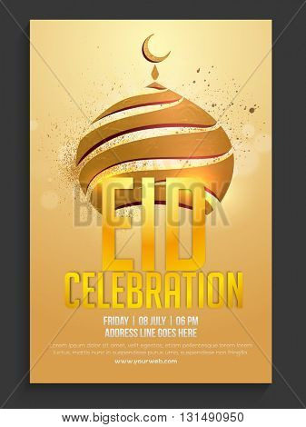 Glossy Golden Mosque decorated, Pamphlet, Banner, Flyer or Invitation design for Islamic Famous Festival, Eid celebration.