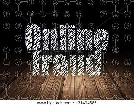 Safety concept: Glowing text Online Fraud in grunge dark room with Wooden Floor, black background with Scheme Of Hexadecimal Code