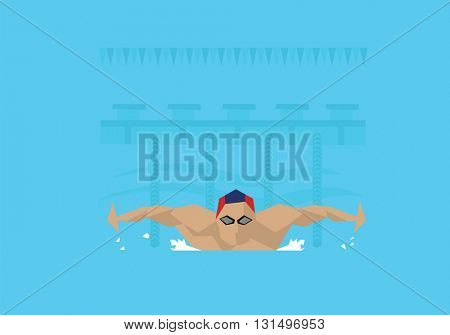 Illustration Of Male Swimmer Competing In Butterfly Event
