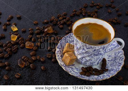 China cup of espresso coffee. Coffee cup. Coffee mug. Morning coffee. Cup of coffee. Coffee break. Strong coffee.