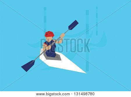 Illustration Female Canoeist Competing In Kayak Event