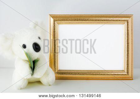 Nursery mockup with white bear. Frame mockup. Poster Mockup. Nursery mockup. Styled mockup. Product mockup. Design Mockup. White frame mockup. Gold frame mockup. Landscape mockup