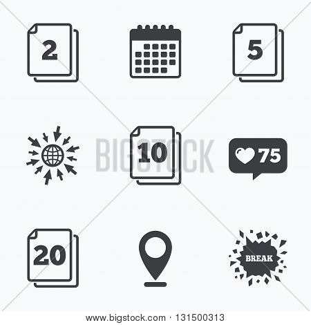 Calendar, like counter and go to web icons. In pack sheets icons. Quantity per package symbols. 2, 5, 10 and 20 paper units in the pack signs. Location pointer.