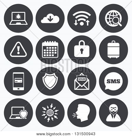 Wifi, calendar and mobile payments. Internet privacy icons. Cyber crime signs. Virus, spam e-mail and anonymous user symbols. Sms speech bubble, go to web symbols.