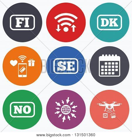 Wifi, mobile payments and drones icons. Language icons. FI, DK, SE and NO translation symbols. Finland, Denmark, Sweden and Norwegian languages. Calendar symbol.
