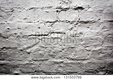 White grunge empty brick wall. Background conceptual image.