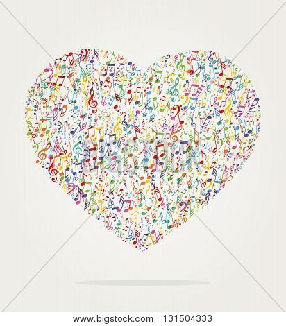 heart shape music color with notes for fun