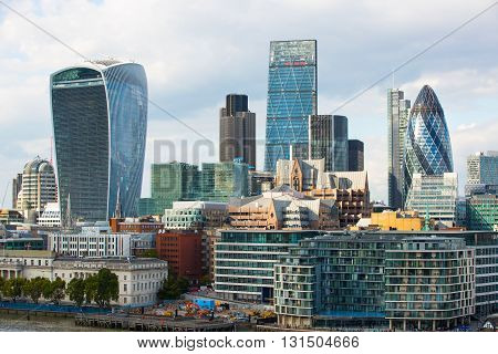 LONDON, UK - SEPTEMBER 19, 2015: City of London office buildings