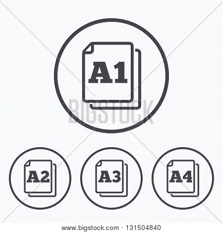 Paper size standard icons. Document symbols. A1, A2, A3 and A4 page signs. Icons in circles.