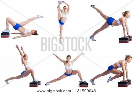 Shaping. Photo collage of blonde girl exercising on stepper