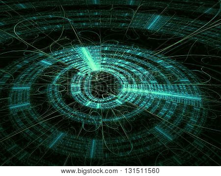 Abstract technology backbround - computer-generated image. Fractal background - green disk with radiating from the center lines and metallic luster. For banners, covers, web design
