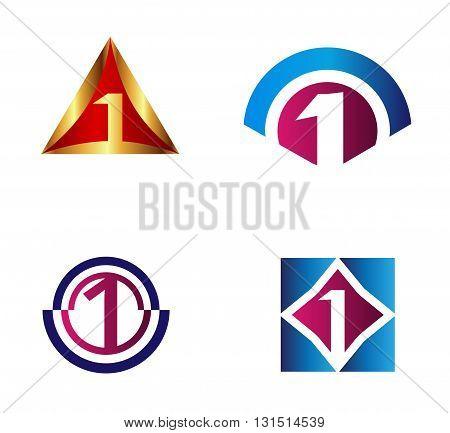 Number logo design.Number one logo vector template