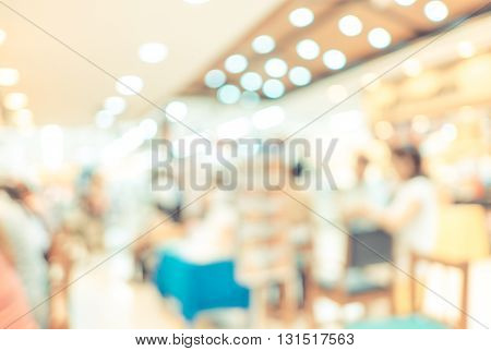 Blurred Background : Groups Of Customer Queuing In Front Of Restaurant