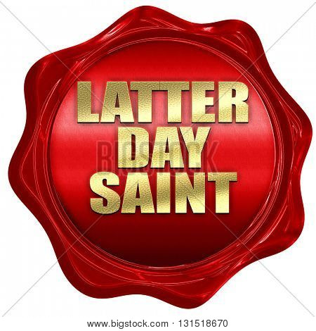 latter day saint, 3D rendering, a red wax seal