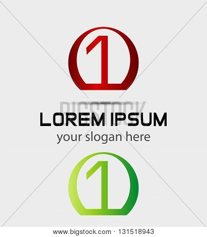 Number one 1 logo icon template. Vector design template elements