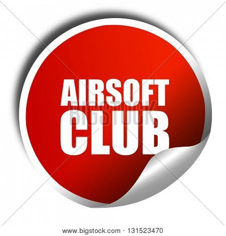 Airsoft club, 3D rendering, a red shiny sticker