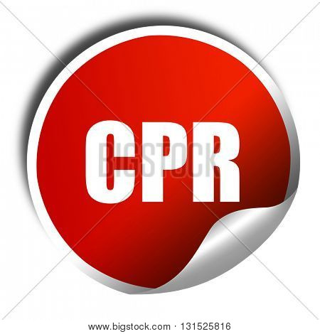 cpr, 3D rendering, a red shiny sticker