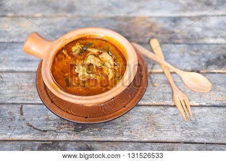 Thai panang curry on wood table, Thailand food