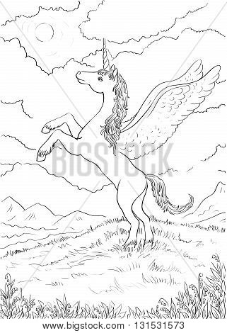 Hand drawn magic Unicorn for children. Coloring page with high details. Vector monochrome sketch. Unicorn with wings standing on hind legs. Night landscape with the moon.