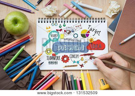 Design creative process idea and research inspiration concept