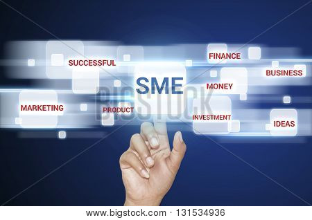 Businessman hand pointing SME word small business concept.