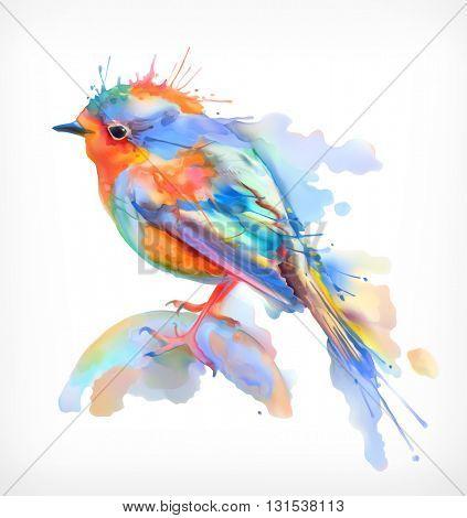 Little bird, watercolor illustration, isolated vector