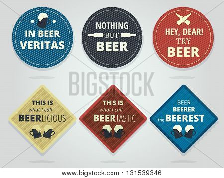 Set Of Colored Round and Square Ready Beer Coasters With Slogans And Phrases Motivation Bierdeckels Design