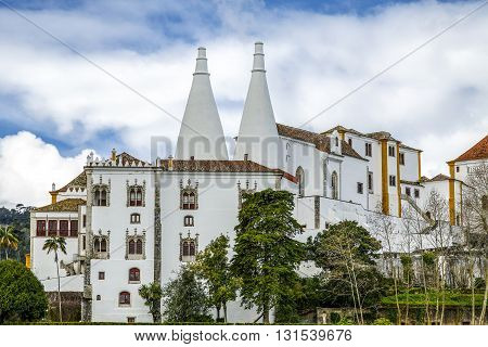 Sintra National Palace Palacio Nacional de Sintra the best preserved medieval Royal Palace in Portugal part of the cultural landscape of Sintra a designated UNESCO World Heritage Site.