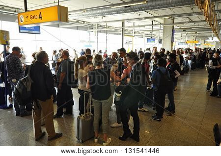Passengers Waiting In The Eindhoven Airport