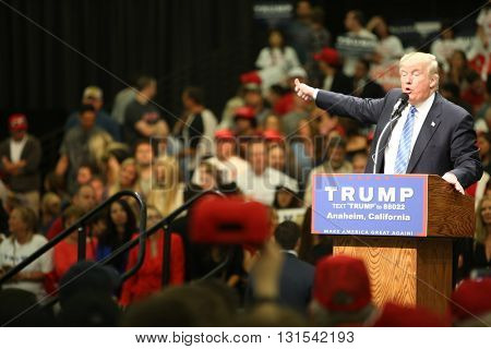 ANAHEIM CALIFORNIA, May 25, 2016: Republican presidential candidate Donald Trump speaks at campaign event in the Anaheim Stadium in Anaheim California to Thousands of fans and Supporters.