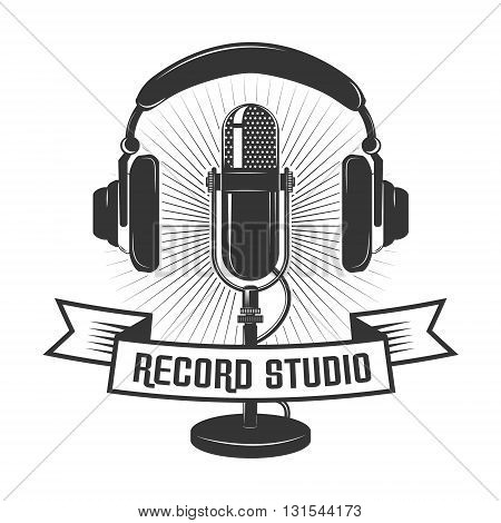 Record studio label template. Microphone and headphones in vintage style. Design elements for logo label badge emblem sign.