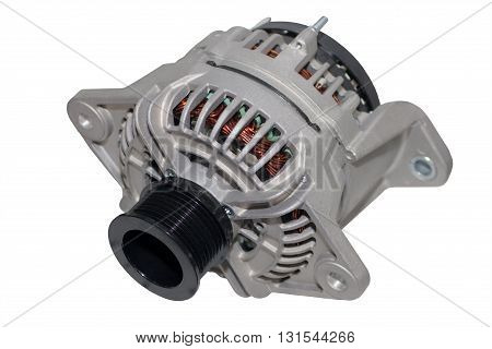 Alternator. Image of car alternator isolated on white background.
