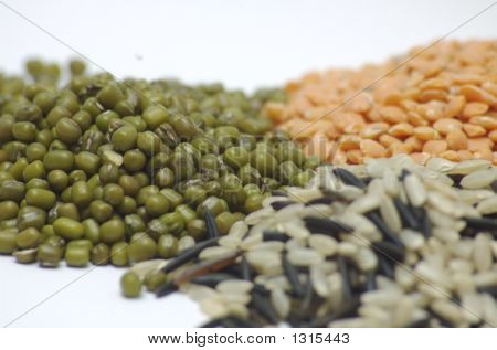Lentils, Moong Beans, And Rice