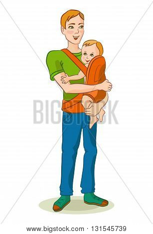 Happy dad holding his baby in a sling. Father with baby in the ergo the backpack.Vector illustration of father's day.Illustration for children's books.The isolated image.The child and adult.