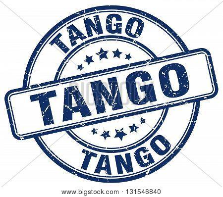 Tango Blue Grunge Round Vintage Rubber Stamp.tango Stamp.tango Round Stamp.tango Grunge Stamp.tango.