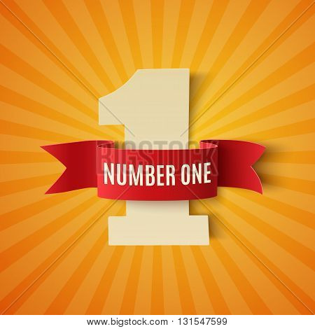 Number one conceptual background with red ribbon on orange backdrop. 1st place Poster or brochure template. Number one concept. Number 1 poster. Vector illustration.