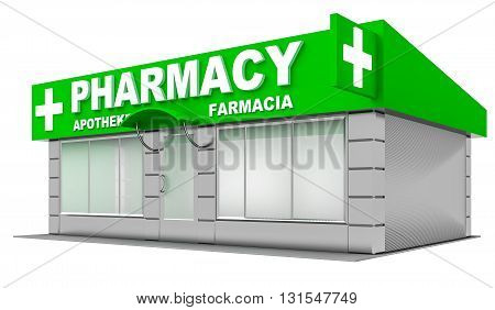3D Illustration of pharmacy store isolated on white background