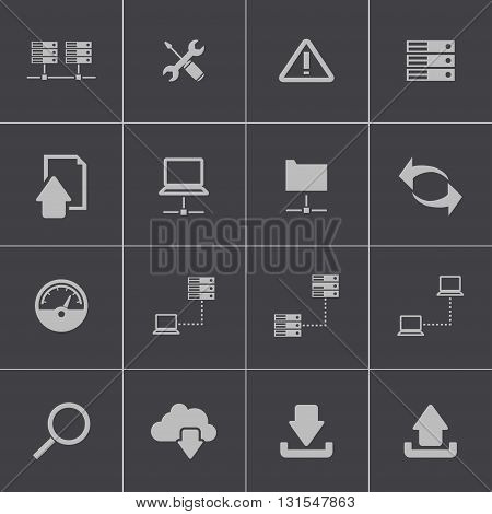 Vector black FTP icon set on grey background