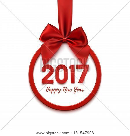 Happy New Year 2017 round banner with red ribbon and bow, on white background. Happy New Year Christmas tree decoration. Happy New Year 2017 Greeting card template. Vector illustration.