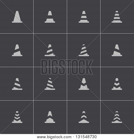 Vector black traffic cone icons set on grey background
