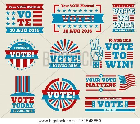 Encourage voting USA 2016 vector badges set. American vote labels for national voting day, vector illustration