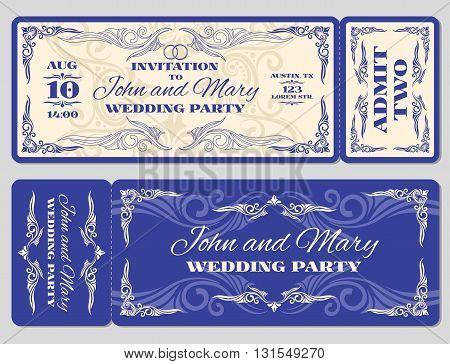 Vector vintage ticket wedding invitation. Ticket card for celebration wedding and invitation to wedding marriage illustration