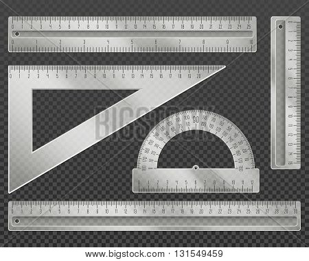 Measuring tools. Rulers, triangle and protractor set vector illustration