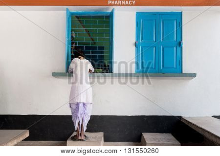 Rural pharmacy facade in West Bengal, India