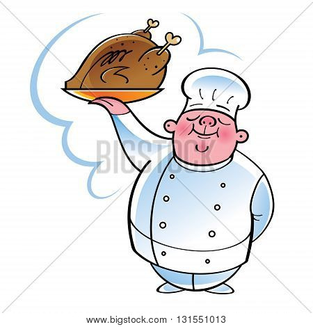 Chef cook with grilled chicken on golden plate