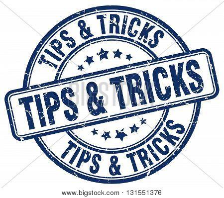 Tips & Tricks Blue Grunge Round Vintage Rubber Stamp.tips & Tricks Stamp.tips & Tricks Round Stamp.t