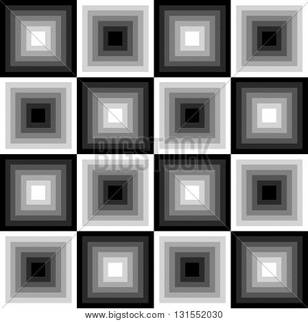 Seamless black and white pattern of squares in a checkerboard pattern