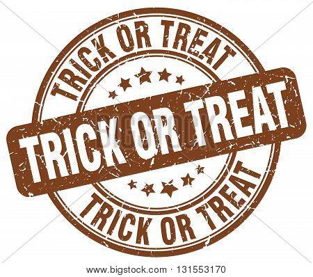 Trick Or Treat Brown Grunge Round Vintage Rubber Stamp.trick Or Treat Stamp.trick Or Treat Round Sta
